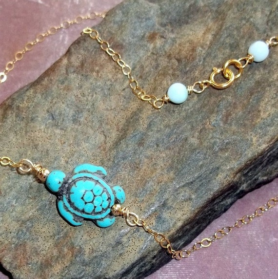 Turtle Necklace Carved Jade Peruvian Blue Opal Gold earthegy