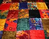 1970's Hippie Chic VELVET PATCHWORK Quilt Bedspread King Queen 111 X 96 On Sale