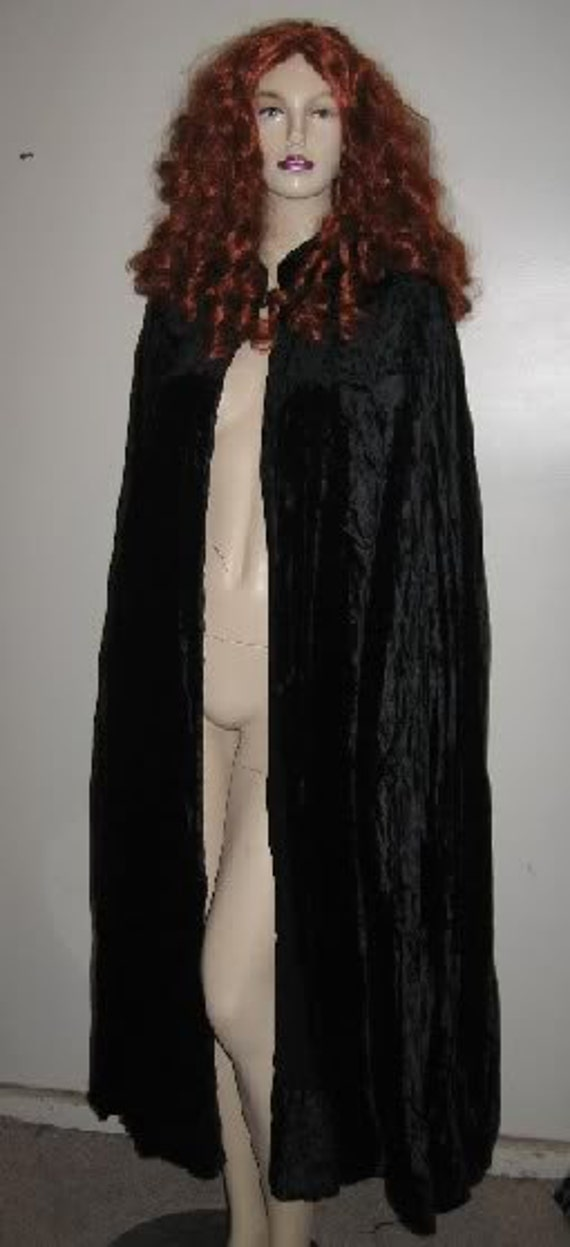 On Sale! 1930's Silk VELVET Black Hooded GOTHIC Cape From LONDON Theater Super Long & Sweeping