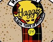 Fun Illustration Greetings Card - 5 x 5 - Blank - Scottish Haggis