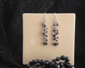 Earrings - Silver and Hematite Cascade
