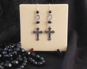 Cathedral Size Silver Cross Earrings