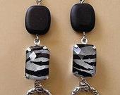 Zebra Gemstone Dangle Earrings embossed hoops black and silver