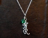 Sterling Silver Personalized Initial Mother's Necklace with Birthstone