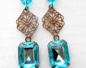 Antiqued Brass and Turquoise Gemstone Earrings