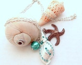 Silver Nautical Beach Starfish and Shell Necklace - Beach wedding