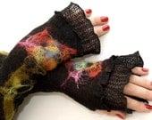 Romantic Black  Fingerless Gloves Mittens Arm Warmers Linen Knitted With Unique Felt Fower Appliques Eko Friendly
