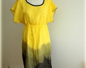 Yellow Hand-Dyed Dark Blue Linen Tunic Kimono Eco Friendly Linen Clothing Natural - malowanelnem