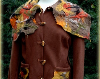 Jacket Brown With Felted Collar Eco Friendly Natural Clothing Unique Fashion  M - L Size