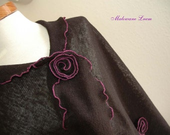Black Shawl LINEN Kntted, Shawl Wrap, Finished With Ornamental Stitch in  Violet, Eco Frendly,Linen Clothing,Shawl Linen,Plus Size