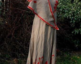 Linen Dress With Red Leaves Eco Friendly
