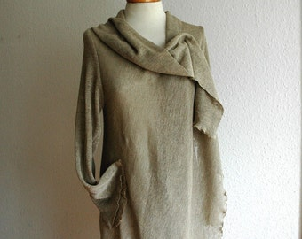 LINEN  Cardigan Natural  With Linen Knitted Eco Friendly Sweater Wrap Clothing Natural