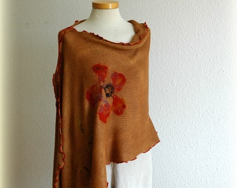 Chocolate LINEN Knitted Poncho Flower Feltted Appliques, Unique ,Natural Clothing ,Eco Friendly, Wrap Sweater, Felted Poncho,Women's Poncho