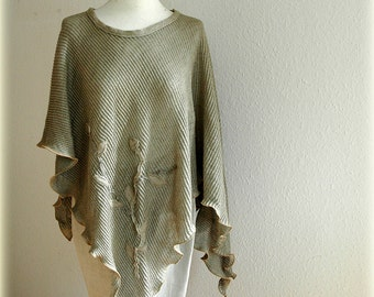 Grey Linen Knitted Poncho With Linen Appliqes Eco Friendly Clothing Natural