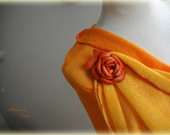 LINEN Summer Orange Scarf Whit Leather Brooch Linen Knittyd Hand Dyed Eco Friendly Clothing Holiday Gifts
