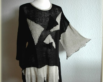 Asymmetrical Grey Whit Black LINEN Tunic  Knitted Plus size Eco Frendly