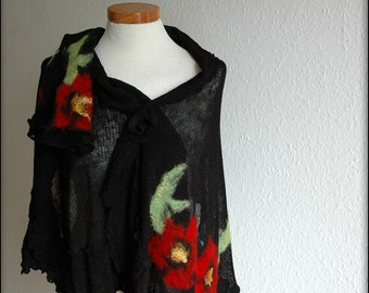 Shawl Wrap Mittens Black LINEN Knittted With Felt Flower Application Eco Friendly