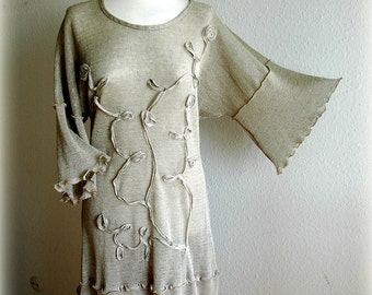 Natural Grey Universal Dress- Tunic With Application Linen Knitted Eco Friendly Clothing Natural Plus Size