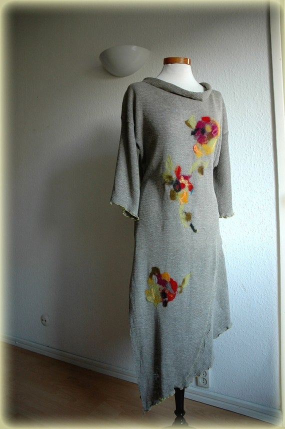 Tunic Linen Knitted With Felt Flower Appliques Eco Friendly Clothing