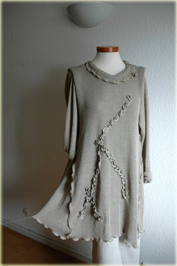 Asymmetrical Dress - Tunic With  LINEN Knitted Eco Friendly Clothing  Plus Size
