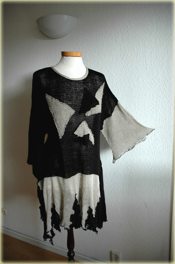 Asymmetrical Grey Whit Black LINEN Tunic  Knitted Plus size Eco Frendly