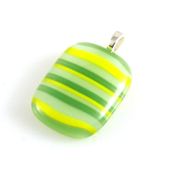 Fused Glass Pendant in Stripey Citrus