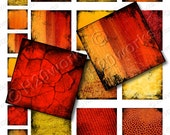 Red Orange Yellow Squares - Grunge, Textures, 1x1, 2x2 (Set of 24) Sunrise, Sunset, Fire,  Inchie, Twinchie, Printable, INSTANT DOWNLOAD