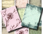 Grunge Shabby Chic ACEO Digital Backgrounds - atc, Flower, Music, Handwriting, Pink, Green, Pale, Pastels, Printable, INSTANT DOWNLOAD