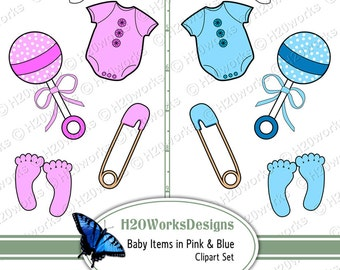 Baby Items Clipart Set - Pink, Blue, Baby Girl Boy, Clip Art, Footprints, Shoes, Rattle, Onesie, Pacifier, Safety Pin, INSTANT DOWNLOAD