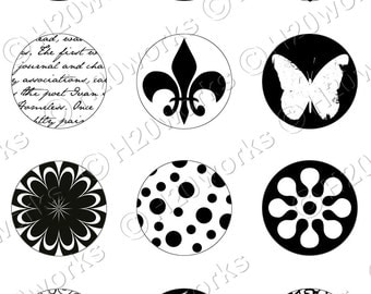 Black & White 1 inch Circles - Digital, Fleur de lis, Clock face, Yin Yang, Damask, Snowflakes, Flowers, Printable, INSTANT DOWNLOAD