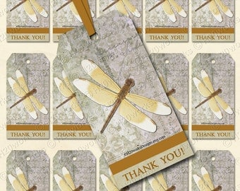 Dragonfly Digital Gift Tags - Gold, Tan, Grey, Aged Handwriting, Taupe, Thank You, PRINTABLE