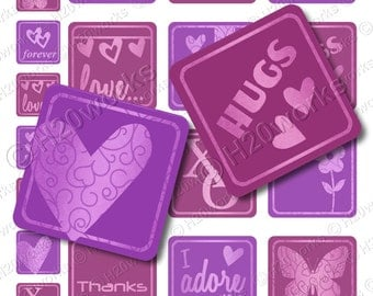 Purple 2 inch Squares, Purple 1 inch Squares, Pink Hearts, Love and Hugs, Inchie Hearts, 1x1 & 2x2, Valentines, Printables, INSTANT DOWNLOAD