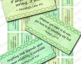 Murphy's Laws Quotes Digital Rectangles on 8.5x11 Sheet (20 Different Quotes in Soft Greens OR Neutral) St Pattys Day