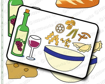 Italian Dining Clipart Set - FOOD, Clip Art, Pasta Bowl, Wine Bottle & Glass, Bread, Cheese, Olives, Kitchen, Recipes, INSTANT DOWNLOAD