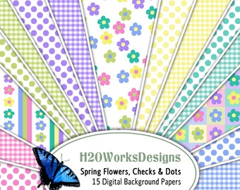 Spring Flowers, Checks, Dots Digital Backgrounds (Set of 15) Pastels, Pink, Yellow, Blue, Purple, Green, Teal, Easter, PRINTABLE PAPER
