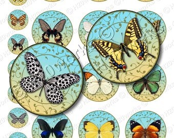 Butterflies, Circles, 1x1 & 2x2 (Set of 24 on 8.5x11) Blue, Multicolored, Bottlecap, Scroll, Scrollwork, Printable, INSTANT DOWNLOAD