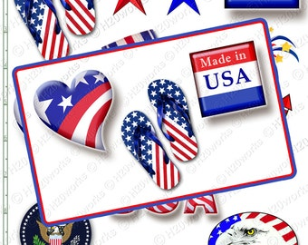 4th of July, Clipart Set  -  Red, White, Blue. America, Patriotic, Heart, Made in USA, Flag Day, Fireworks, Eagle, Stars, INSTANT DOWNLOAD
