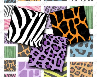 Animal Prints 1x1 & 2x2 Squares - Digital, Zebra, Leopard, Bright, Multicolor, Giraffe, Tiger, Inchie, Twinchie, Printable, INSTANT DOWNLOAD