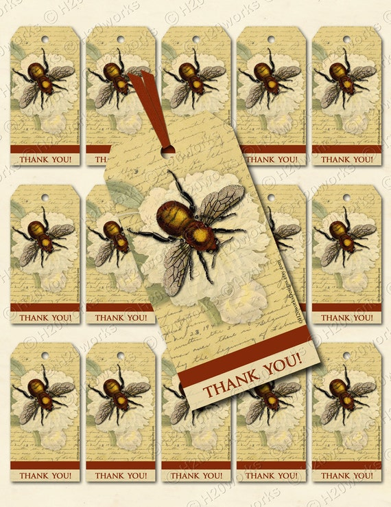 Botanical Bee Digital Gift Tags - Gold, Tan, Rust, Aged Handwriting, Peony, Flower, Insect, Bug, Wings, Journaling, Scrapbooking, Thank You