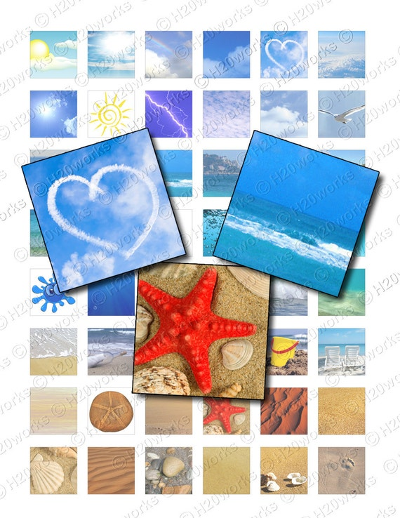 1x1 Ocean, Beach Squares - Oceanview, Blue, Sky, Sun, Sand, Water, Sea, Digital Collage Sheet, Printable Paper, Scrabble, INSTANT DOWNLOAD