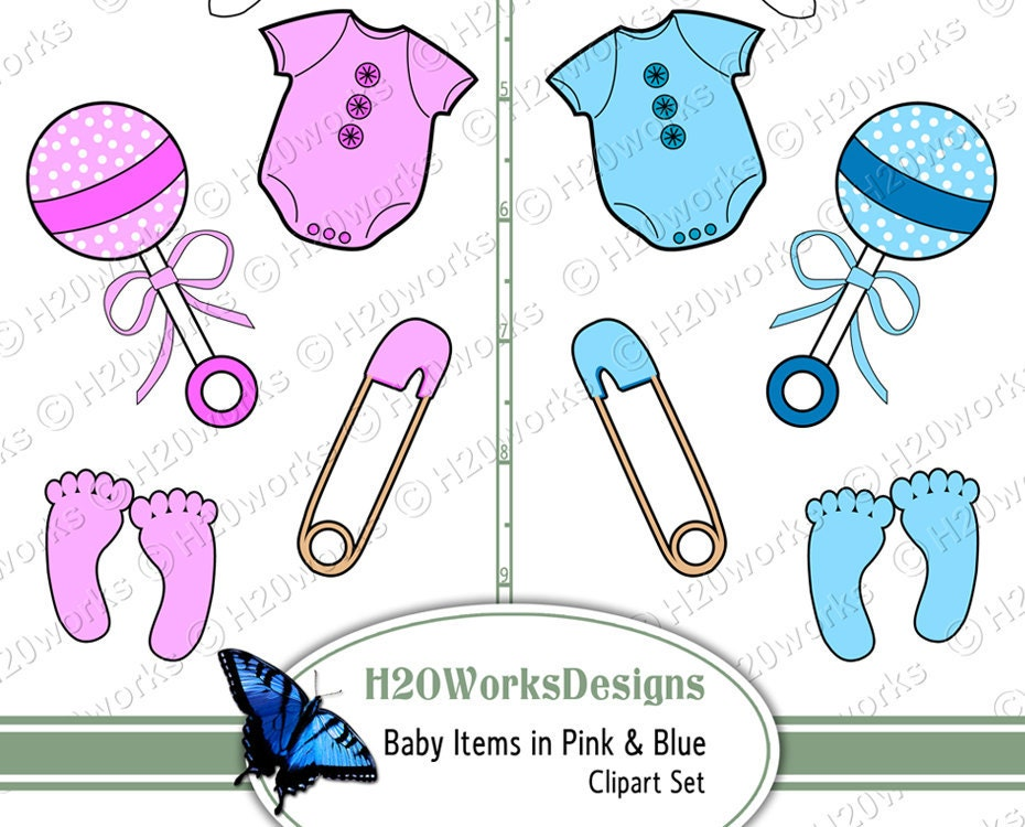 Baby Items Clipart Set on 8.5x11 Sheet Pink by H20worksDesigns