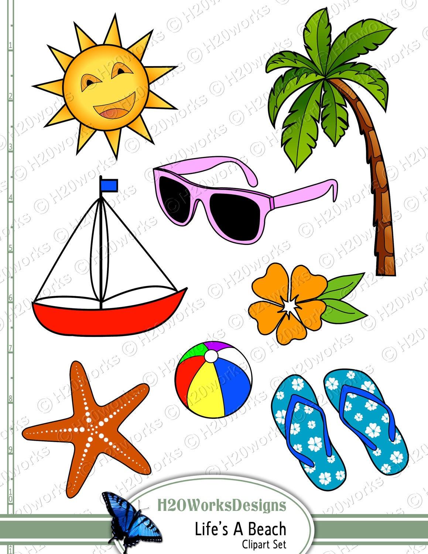 Life's a Beach Clipart Set Starfish Sun Palm Tree