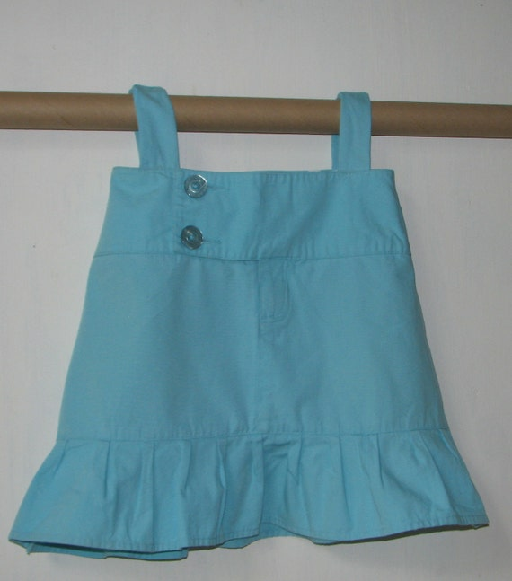 Stylish little ruffled blue top or short dress - child size 3T-5T - upcycled