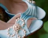 Wedding Shoe Clips Pearl Crystal Three Leaf Clover