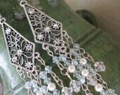 Chandelier Earrings Baby Blue Crystal