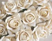 Paper Roses Vintage Inspired Cream SET of 6 Wedding DIY supplies