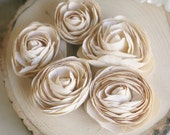 Fabric Roses Ranunculus Vintage Inspired Set of 4 Cream Ivory Champagne