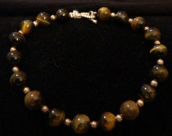 Golden Brown Tiger Eye & Sterling Silver Bracelet