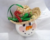 Country Cowboy Snowman Ornament Christmas Tree Bulb Hand Painted Glass Themed with a cowboy hat Personalized