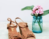 Vintage Brown Suede Wedge Sandals Open Toe with Buckle Size 7 CUTE